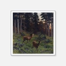 "Deer in Forerst Square Sticker 3"" x 3"""