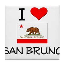 I Love San Bruno California Tile Coaster