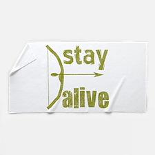 Stay Alive Bow Arrow Beach Towel