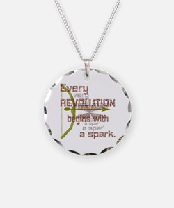 Revolution Spark Bow Arrow Necklace Circle Charm