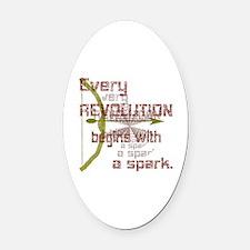 Revolution Spark Bow Arrow Oval Car Magnet