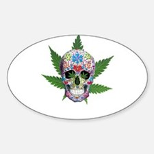 Decorated Skull Pot Leaves Decal