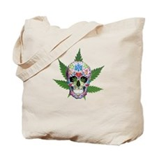 Decorated Skull Pot Leaves Tote Bag