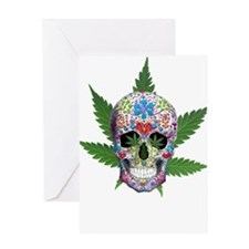 Decorated Skull Pot Leaves Greeting Cards