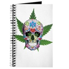 Decorated Skull Pot Leaves Journal