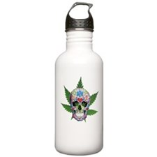 Decorated Skull Pot Leaves Water Bottle
