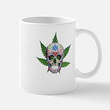 Decorated Skull Pot Leaves Mugs
