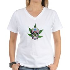 Decorated Skull Pot Leaves T-Shirt