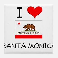 I Love Santa Monica California Tile Coaster