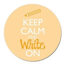 Keep Calm and Write On Round Car Magnet