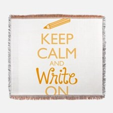 Keep Calm and Write On Woven Blanket