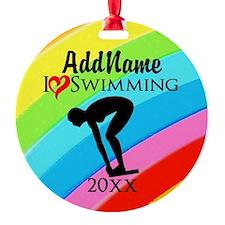 I LOVE SWIMMING Ornament