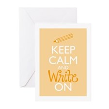Keep Calm and Write On Greeting Cards