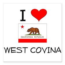 "I Love West Covina California Square Car Magnet 3"""