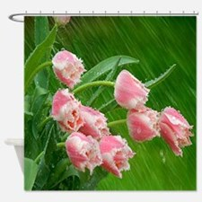 Pink Tulip Flowers Shower Curtain