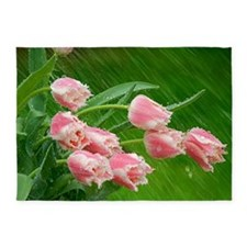 Pink Tulip Flowers 5'x7'Area Rug