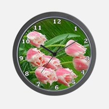 Pink Tulip Flowers Wall Clock