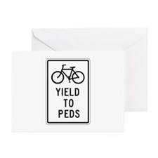 Bicycles Yield to Peds - USA Greeting Cards (Packa