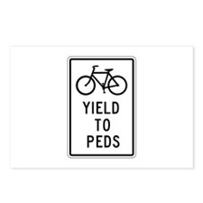 Bicycles Yield to Peds - USA Postcards (Package of