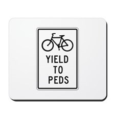 Bicycles Yield to Peds - USA Mousepad