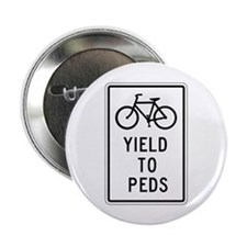 "Bicycles Yield to Peds - USA 2.25"" Button (10 pack"