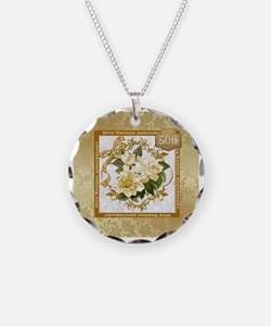 Floral Gold  50th Wedding An Necklace