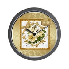 Floral Gold  50th Wedding Anniversary Wall Clock