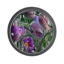 Purple Crocus Flowers Wall Clock