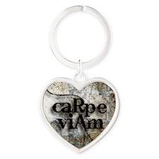 Carpe Viam Heart Keychain