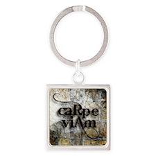 Carpe Viam Square Keychain