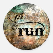 Run by Vetro Designs Round Car Magnet