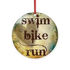 Swim Bike Run by Vetro Designs Round Ornament