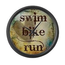 Swim Bike Run by Vetro Designs Large Wall Clock