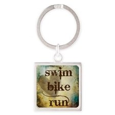 Swim Bike Run by Vetro Designs Square Keychain