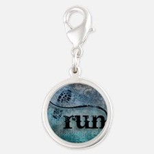 Run by Vetro Designs Silver Round Charm