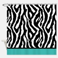 Turquoise zebra Shower Curtain