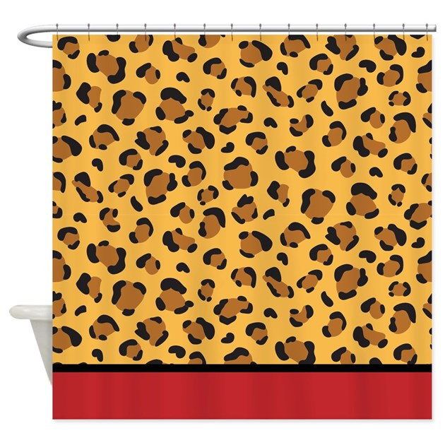 red leopard print shower curtain by inspirationzstore