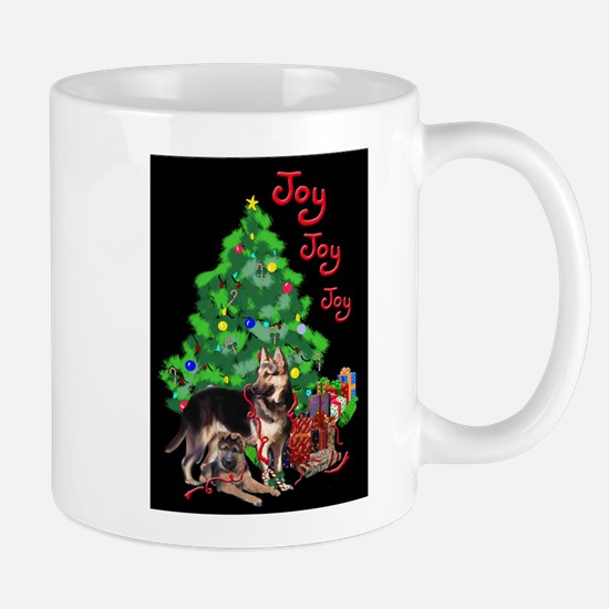 German Shepherd and Christmas Tree Mugs
