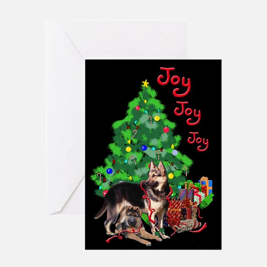 German Shepherd and Christmas Tree Greeting Cards
