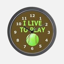 Softball Player Wall Clock
