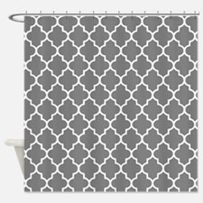 Dark Grey Quatrefoil Shower Curtain