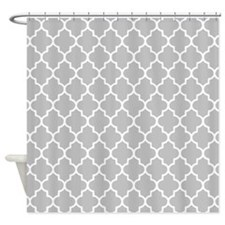 Gray Quatrefoil Shower Curtain