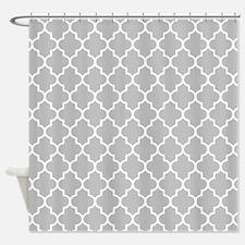 Gray Quatrefoil Shower Curtain