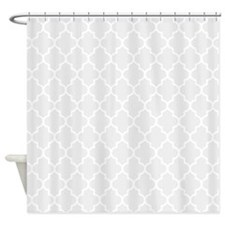 Light Grey Quatrefoil Shower Curtain