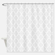 Light Grey Quatrefoil Shower Curtain