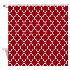 Dark Red Quatrefoil Shower Curtain