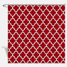 Dark Red Quatrefoil Shower Curtain