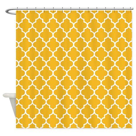 Yellow Quatrefoil Shower Curtain