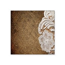 "burlap lace country chic Square Sticker 3"" x 3"""
