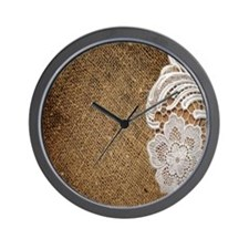 burlap lace country chic Wall Clock